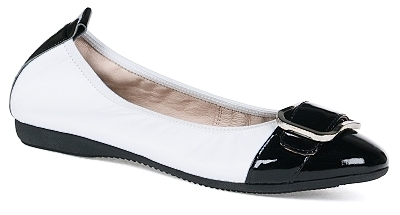 Tessa - Nappa leather/ Patent leather  White/Black