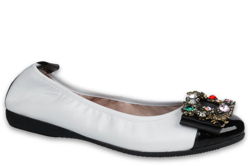 Giorgia - Nappa leather White / Naplack leather Black