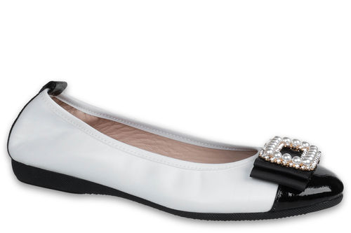 Elettra - Nappa leather White / Naplack leather Black