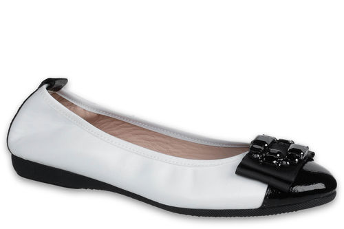 Loredana - Nappa leather White / Naplack leather Black