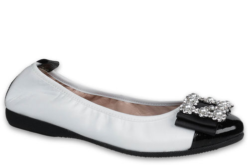 Kristina - Nappa leather White / Naplack leather Black
