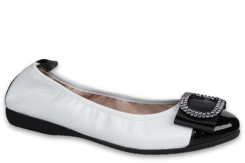 Letizia - Nappa leather White / Naplack leather Black