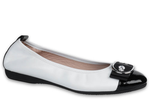 Eleonora - Nappa leather White / Naplack leather Black