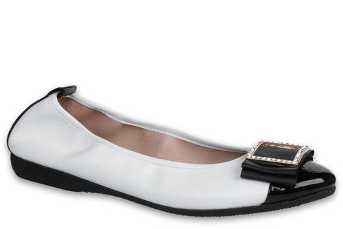 Alberta - Nappa leather White / Naplack leather Black